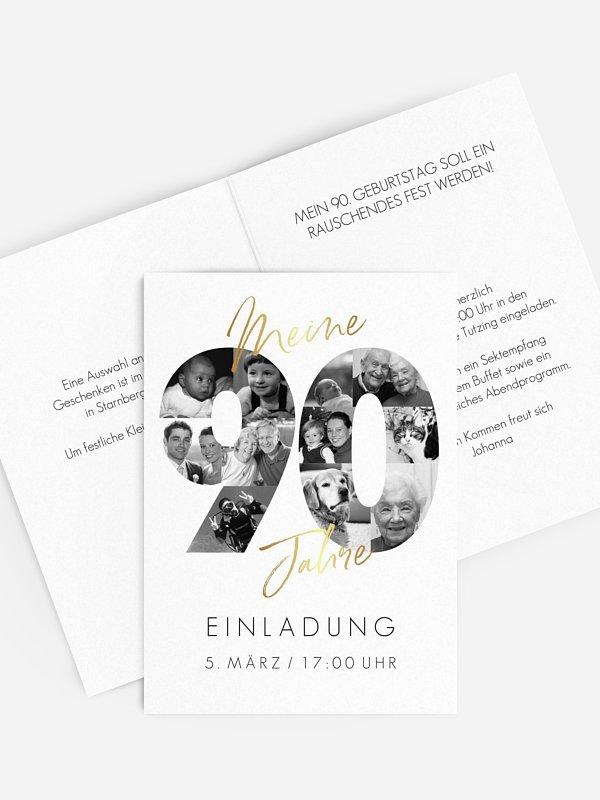 Einladung 90. Geburtstag Fotojahre