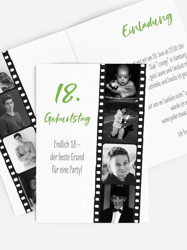 Einladung 18. Geburtstag Filmstreifen