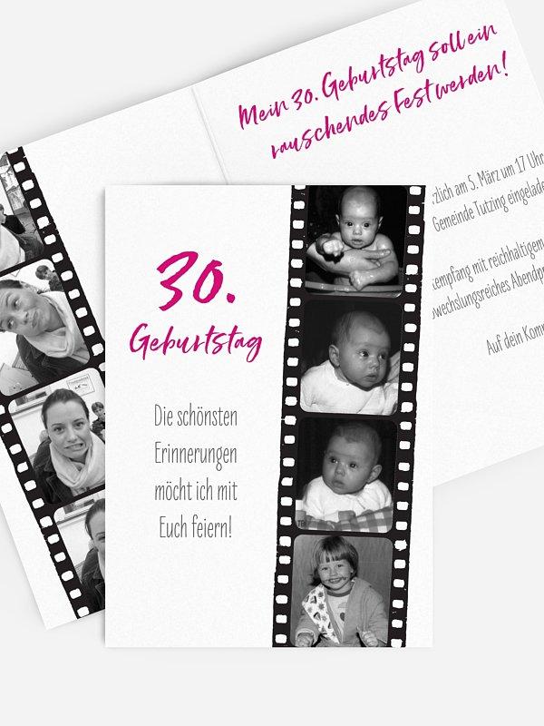 Einladung 30. Geburtstag Filmstreifen