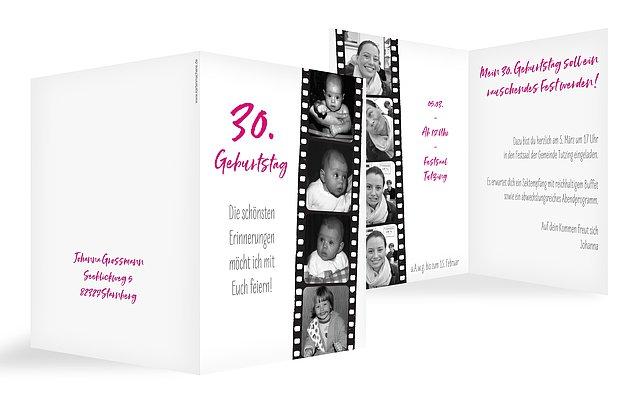 Einladungskarten 30 Geburtstag Filmstreifen