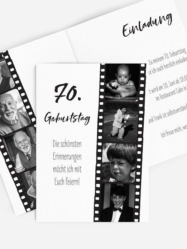 Einladung 70. Geburtstag Filmstreifen
