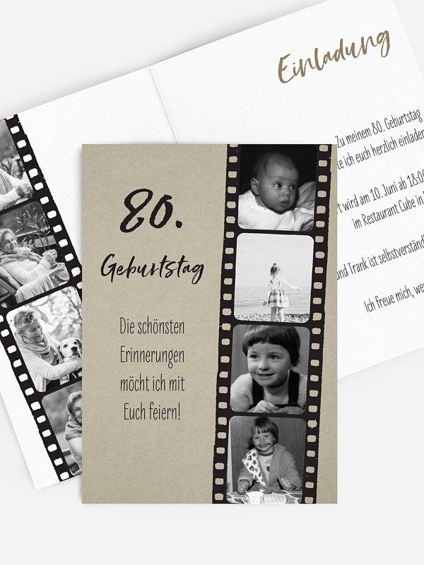 Einladung 80. Geburtstag Filmstreifen