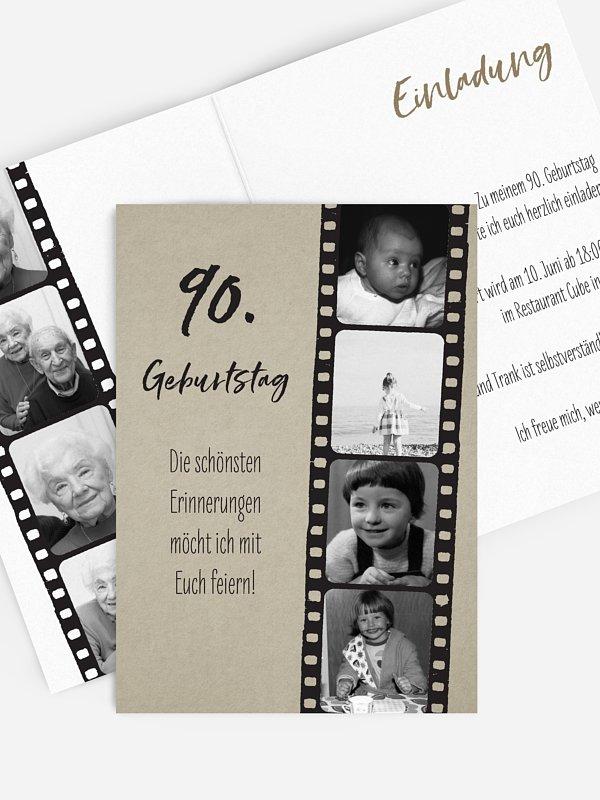 Einladung 90. Geburtstag Filmstreifen