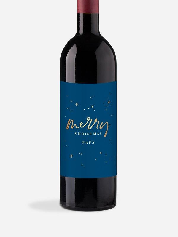 Étiquette pour bouteille Noël féerique
