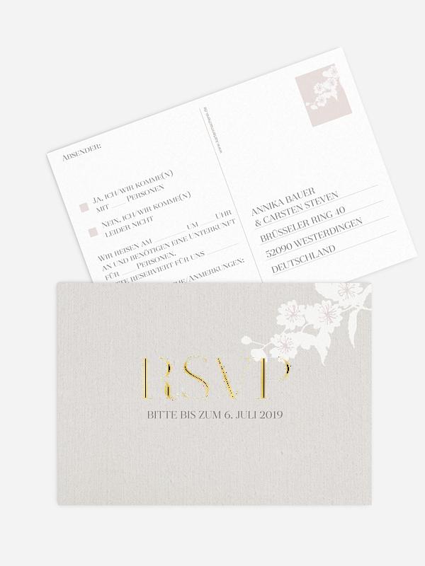 Antwortkarte Hochzeit Frühlingsblüte Premium