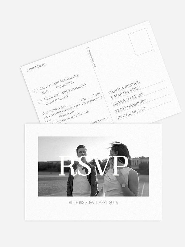Antwortkarte Hochzeit Classic Premium