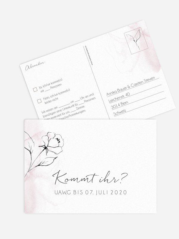 Antwortkarte Hochzeit Zarte Blüte