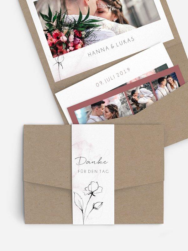 Dankeskarte Hochzeit Zarte Blüte