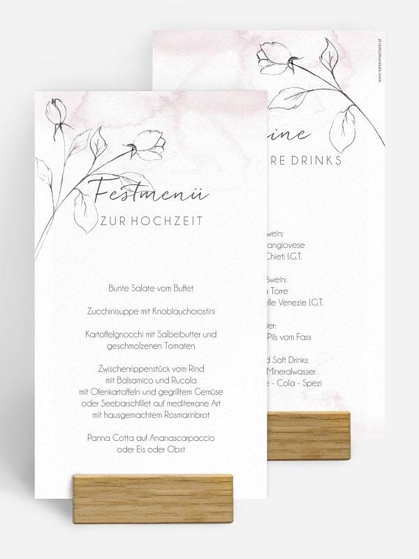Menükarte Hochzeit Zarte Blüte