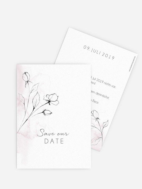 Save-the-Date Karte Zarte Blüte