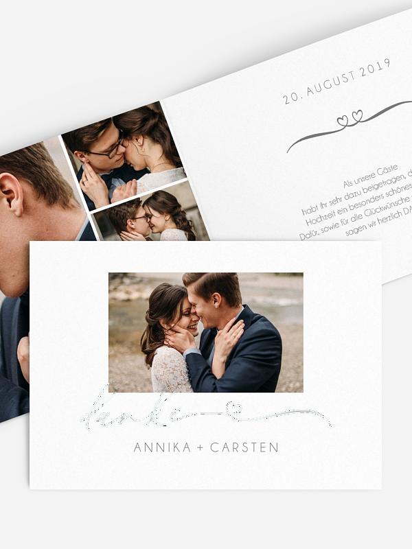 Dankeskarte Hochzeit Herzklopfen Premium