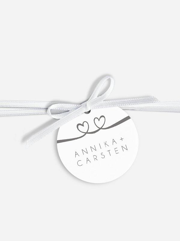 Anhänger mit Band zur Hochzeit Herzklopfen Premium