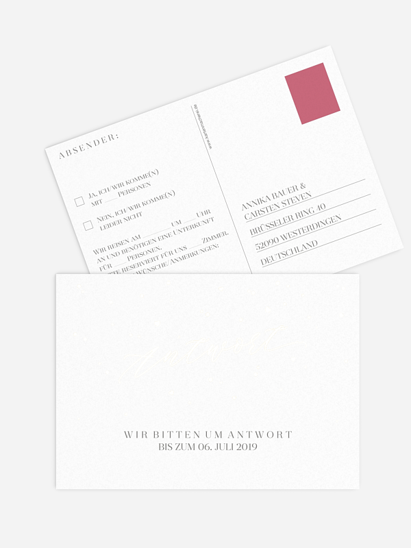 Antwortkarte Hochzeit Sparkling Love Premium