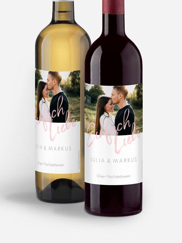 Flaschenetikett Hochzeit Einfach Liebe