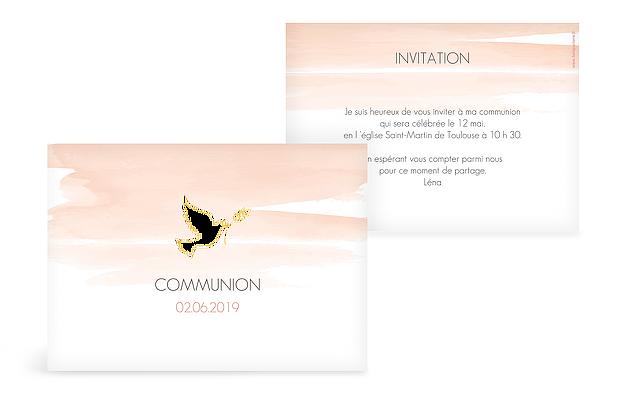 Invitation communion Colombe en aquarelle premium