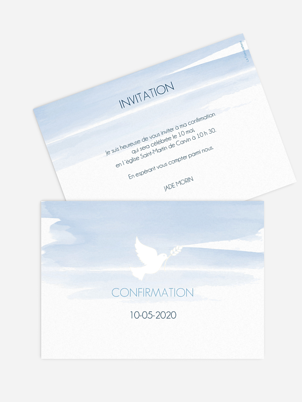 Invitation Confirmation Colombe en aquarelle - dorure
