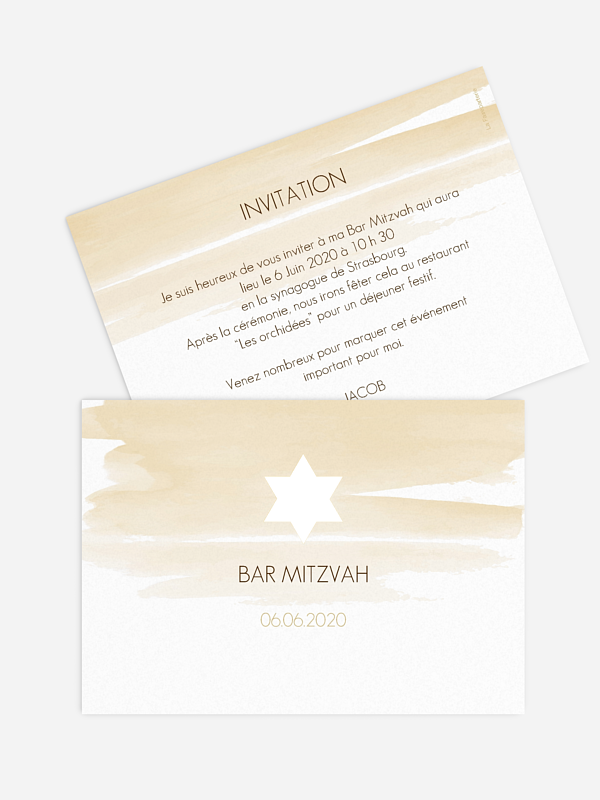Faire-part Bar Mitzvah Colombe en aquarelle - dorure