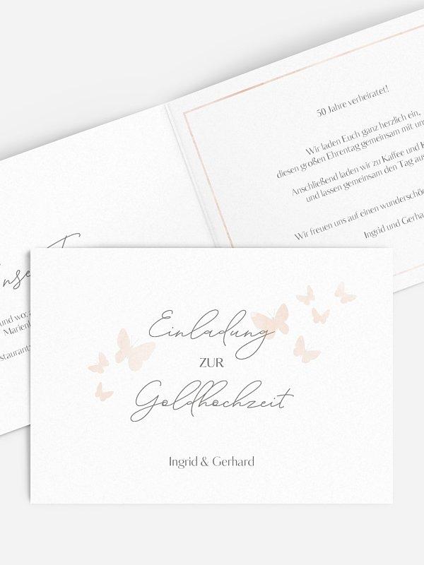 Einladung zur Goldenen Hochzeit Farfalla