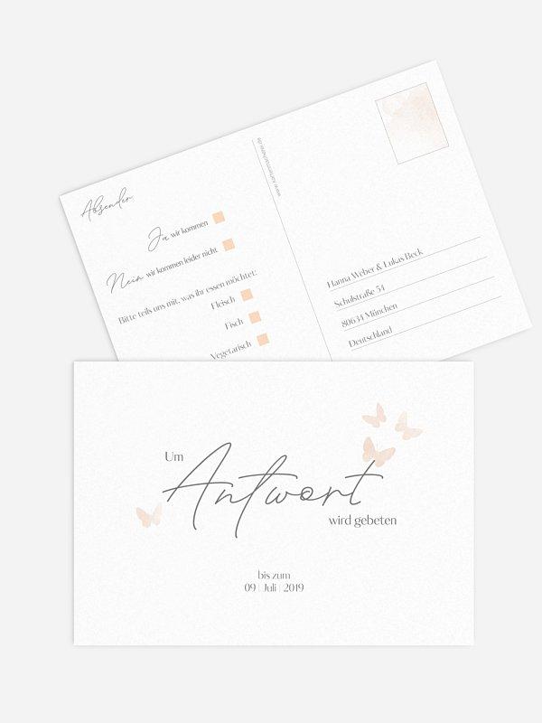 Antwortkarte Hochzeit Farfalla