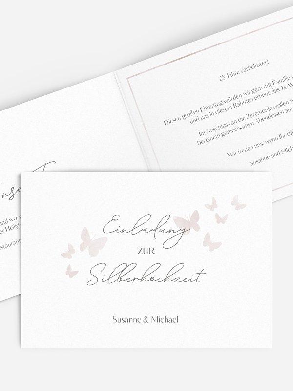 Einladung zur Silberhochzeit Farfalla