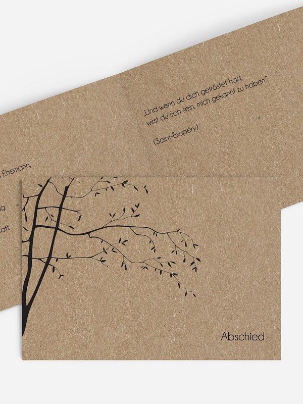 Trauerkarte Zweige Kraftpapier