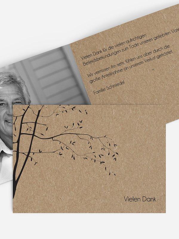 Trauerdanksagung Zweige Kraftpapier