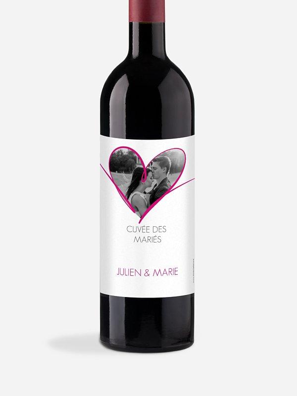 Étiquette bouteille En plein coeur