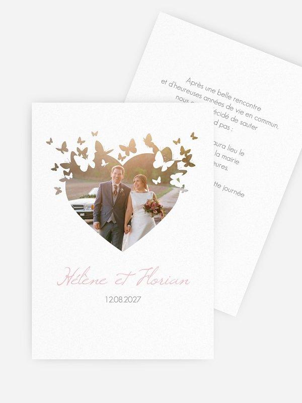 Faire-part mariage Coeur de papillons