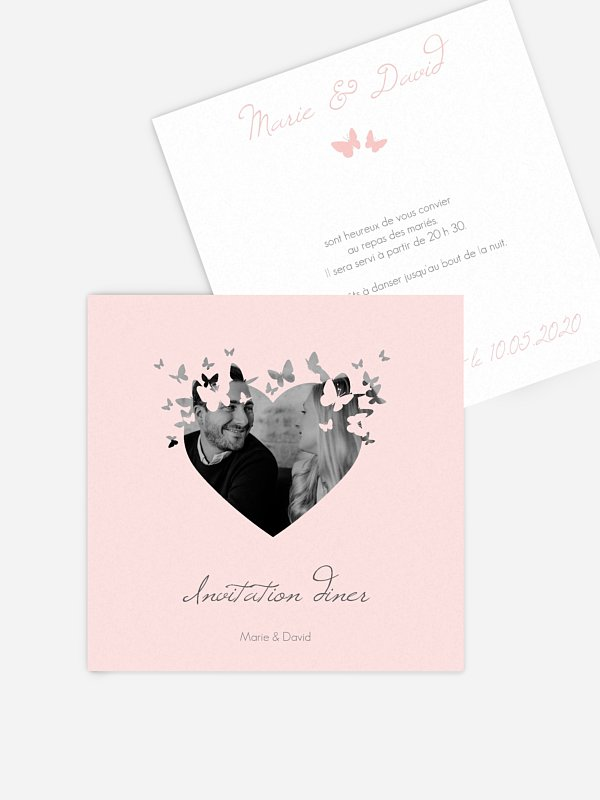 Carton d'invitation Coeur de papillons