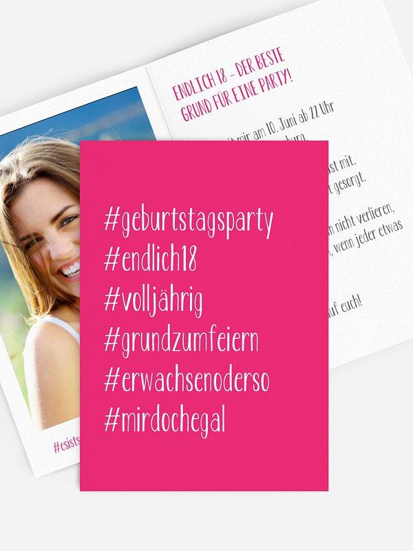 Einladung 18. Geburtstag Hashtag