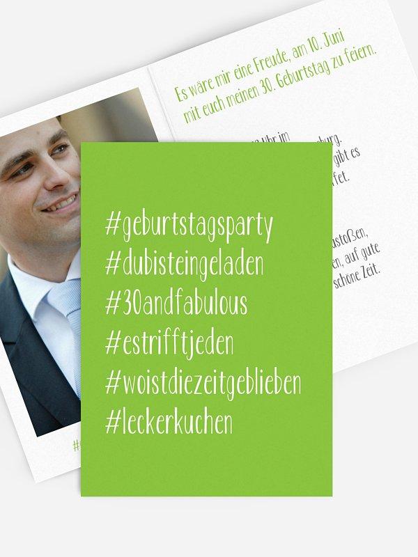 """einladungskarten 30. geburtstag """"hashtag"""""""