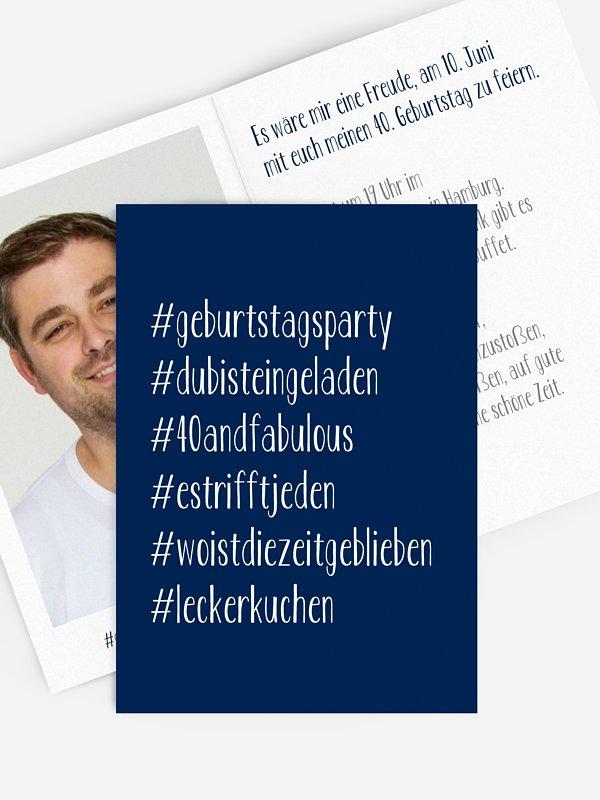 Einladung 40. Geburtstag Hashtag