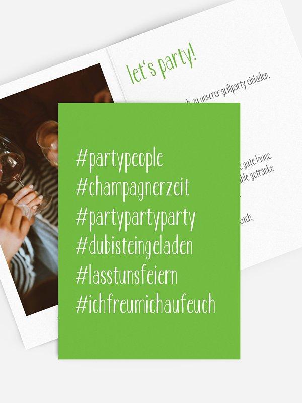Partyeinladung Hashtag