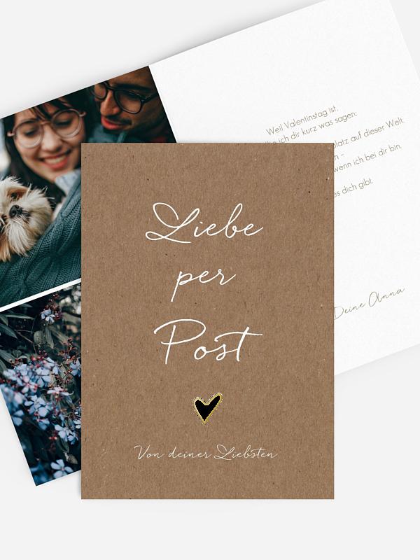 Karte zum Valentinstag Liebe per Post