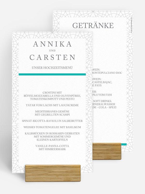Menükarte Hochzeit Marrakesch