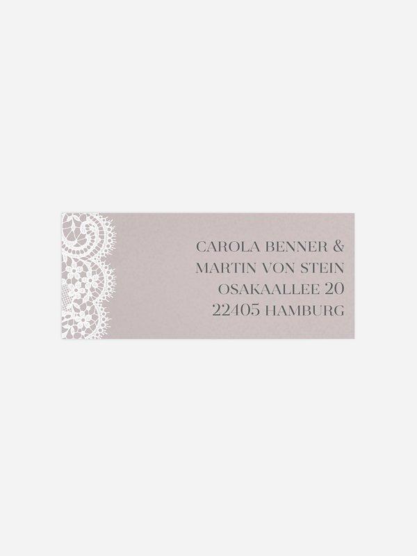 Absenderaufkleber Hochzeit Chantilly