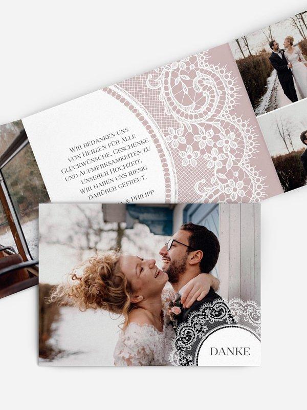 Dankeskarte Hochzeit Lace Doily