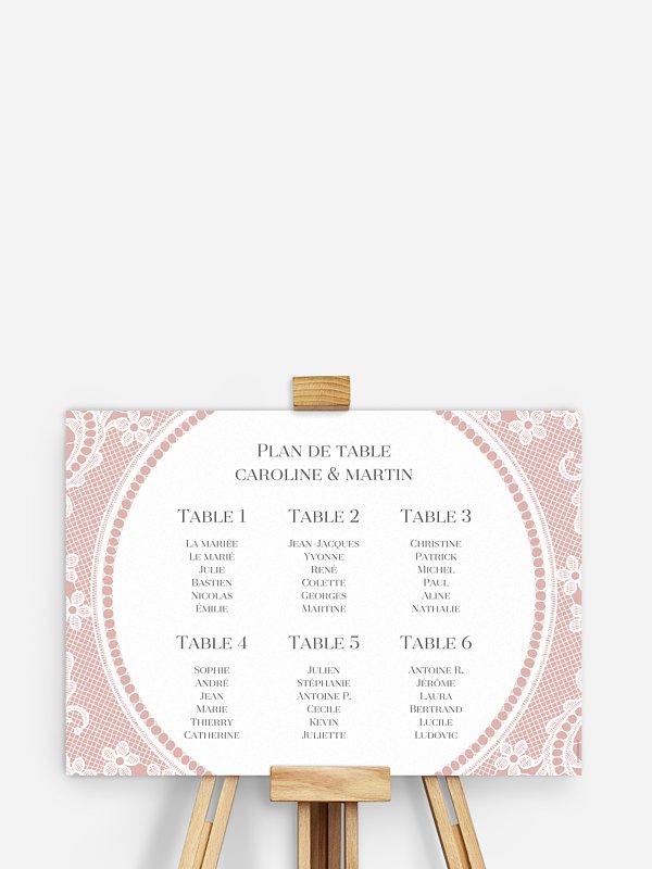 Poster plan de table mariage Dentelle chic