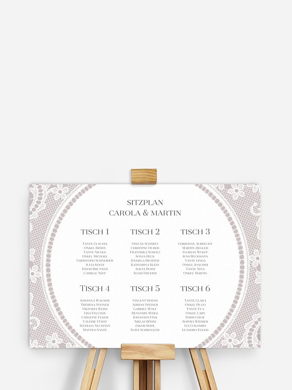 Sitzplan Plakat Chantilly