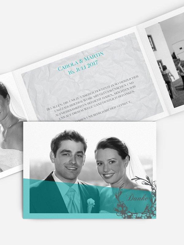 Dankeskarte Hochzeit Modern Garland