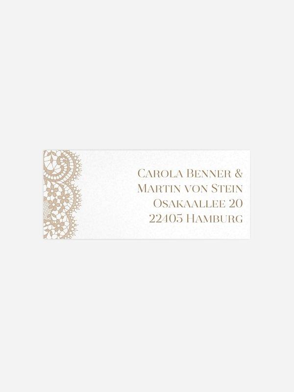 Absenderaufkleber Hochzeit Chantilly für Kraftpapier