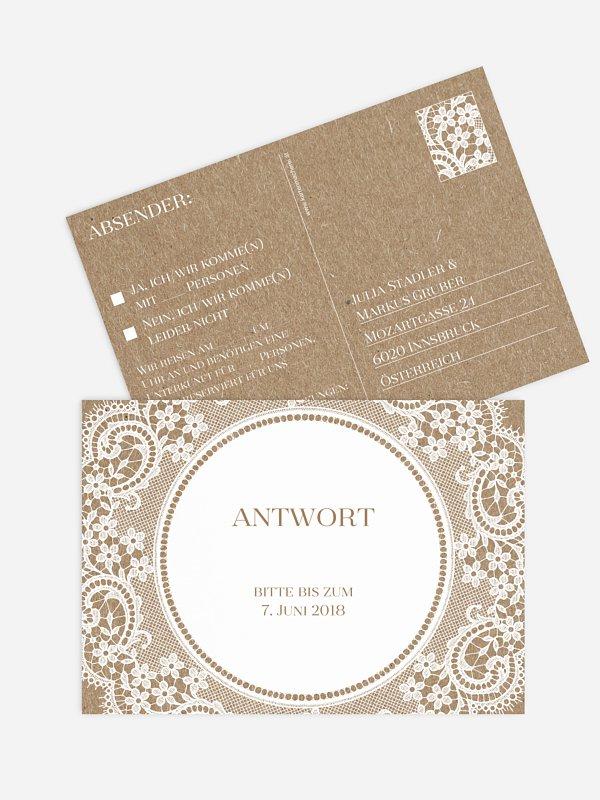 Antwortkarte Hochzeit Chantilly Kraftpapier