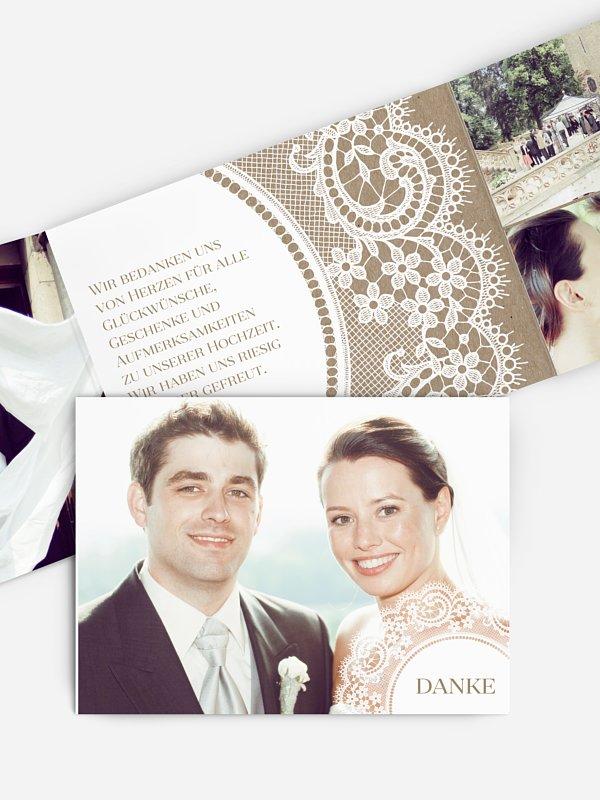 Dankeskarte Hochzeit Chantilly Kraftpapier