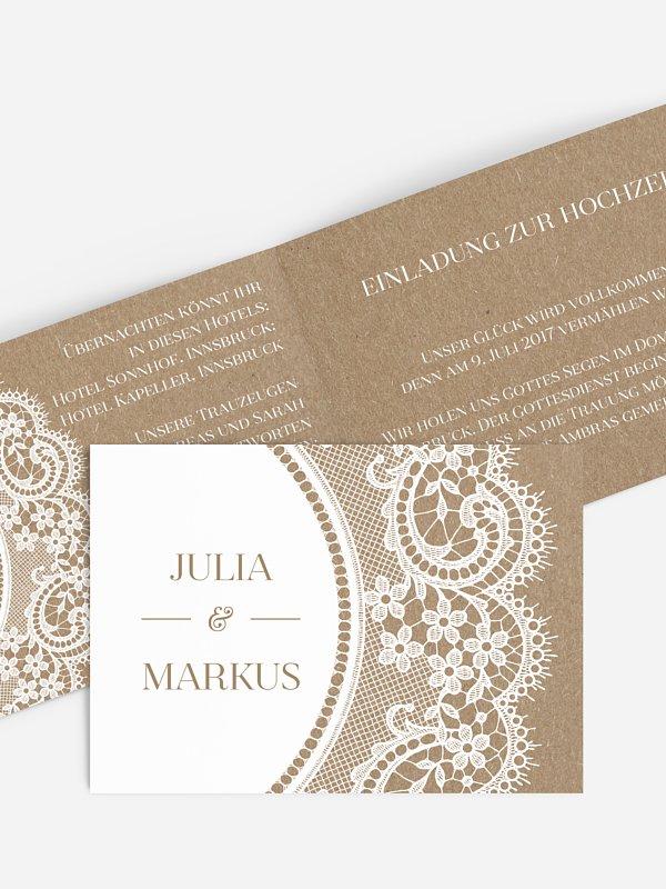 Hochzeitseinladung Chantilly Kraftpapier