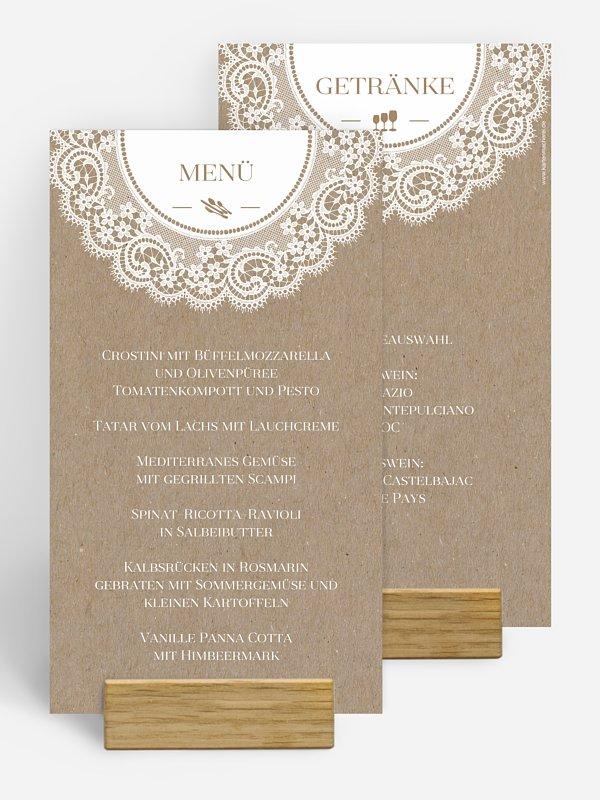 Menükarte Hochzeit Chantilly Kraftpapier