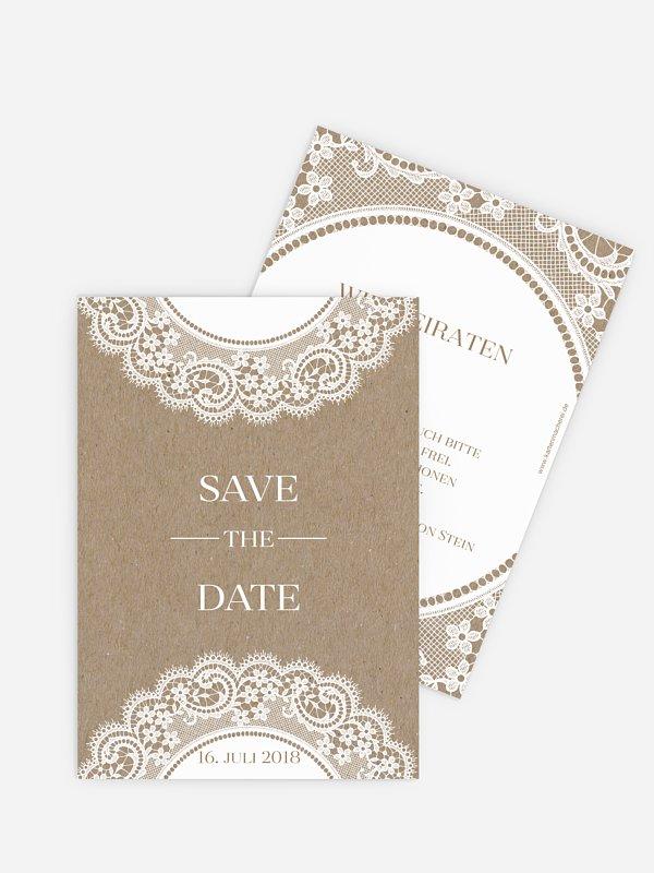 Save-the-Date Karte Chantilly Kraftpapier