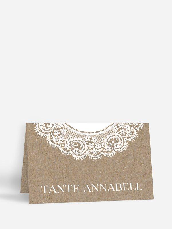 Tischkarte Hochzeit Chantilly Kraftpapier
