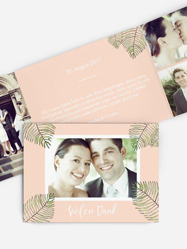 Dankeskarte Hochzeit Love Palms
