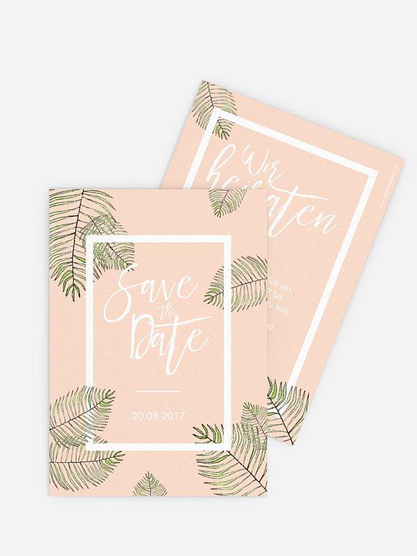 Save-the-Date Karte Love Palms