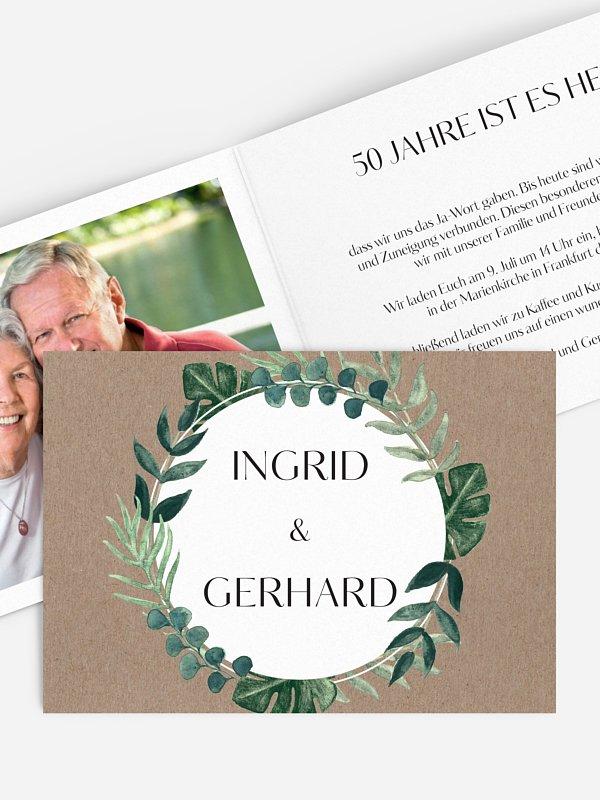 Einladung zur Goldenen Hochzeit Greenery Leaves
